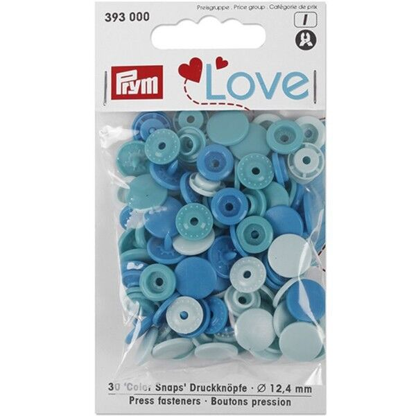 Prym Love Druckknopf Color, Color Snaps Kunststoff 30 Stück Ø 12,4mm blau
