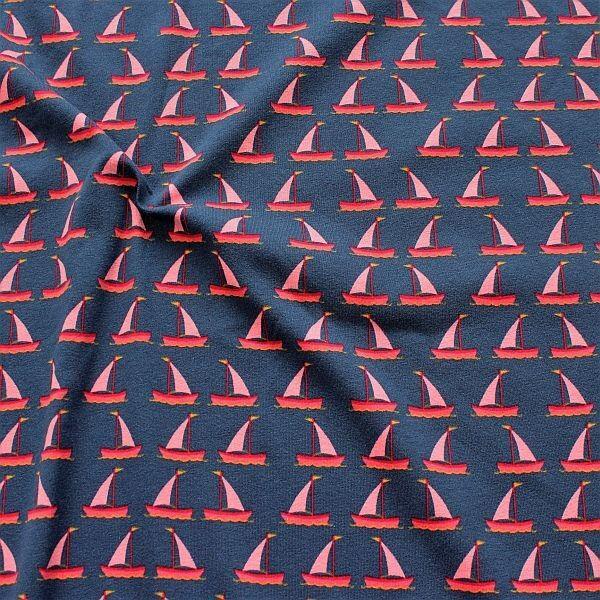 Baumwoll Stretch Jersey Segelboote Dunkel-Blau