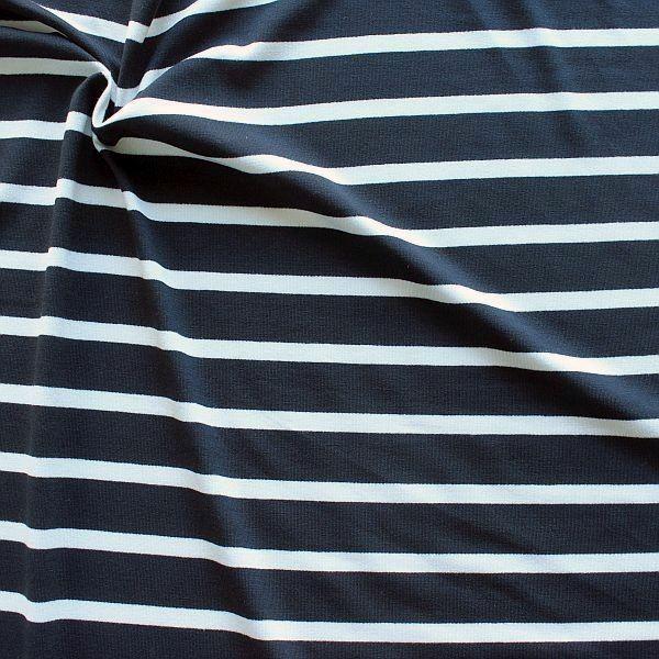 Viskose Stretch Jersey Ringel Maritim Navy-Weiss