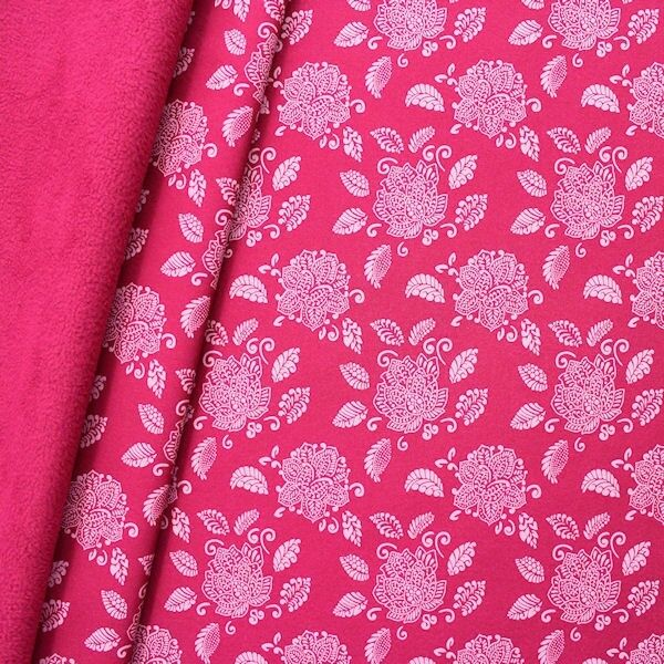Softshell Fleece Stoff Lotusblüte Pink