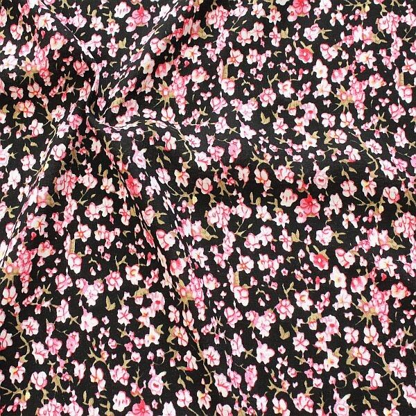 Viskose Javanaise Dainty Flowers Schwarz-Rosa