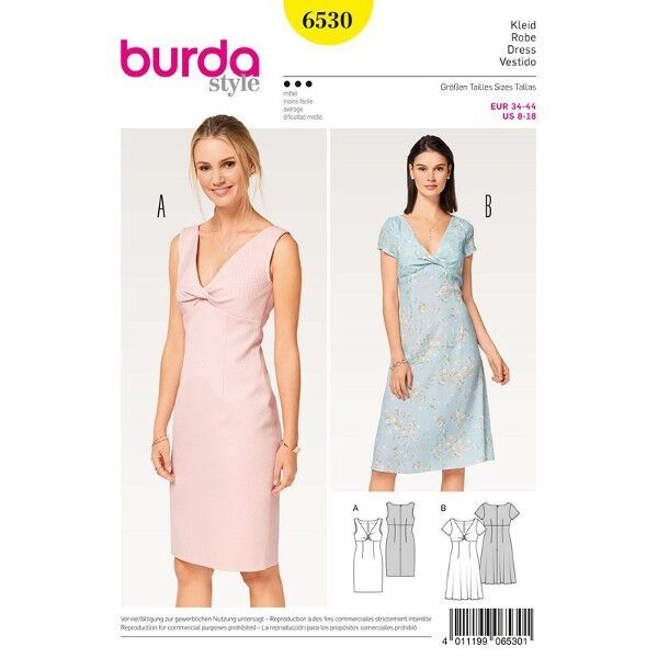 Kleid - Shiftkleid - gedrehtes Oberteil, Gr. 34 - 44, Schnittmuster Burda 6530