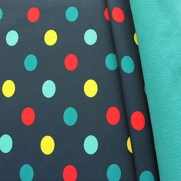 Softshell Fleece Stoff Big Dots Dunkel-Blau Petrol