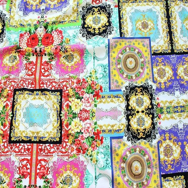 Baumwoll Stretch Jersey Florale Prunk-Ornamente Weiss Multicolor