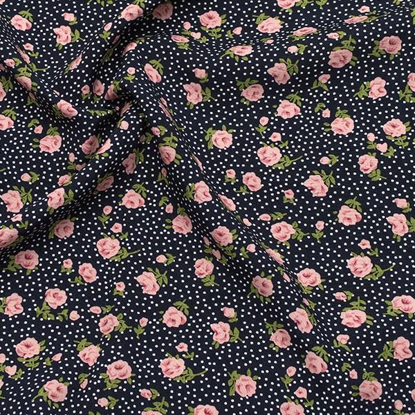 Viskose Modestoff Rosen und Punkte Dunkel-Blau