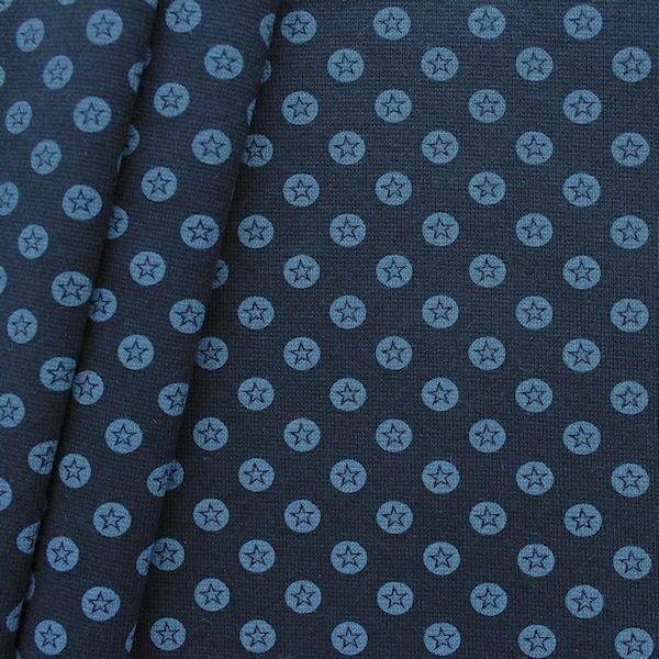 "Baumwoll Bündchenstoff ""Stern im Kreis glatt"" Farbe Blau"