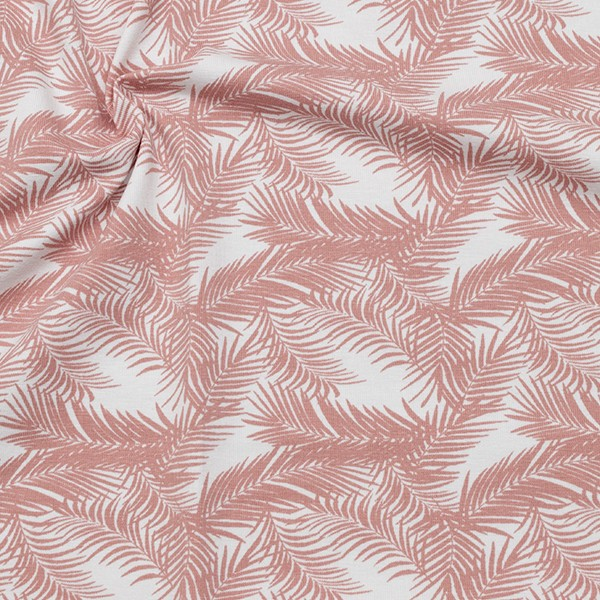 Baumwoll Stretch Jersey Palmenwedel Weiss-Rosa