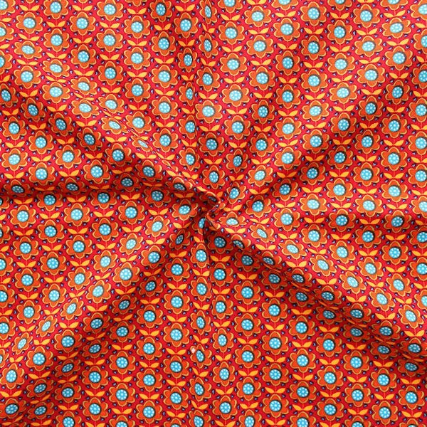 "7,30 Meter 100% Baumwolle Popeline ""Blümchen 3"" Farbe Orange-Rot"