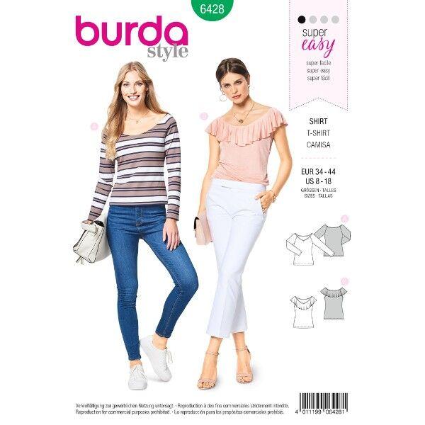 Shirt – Ballett-Ausschnitt, Gr. 34 - 44, Schnittmuster Burda 6428