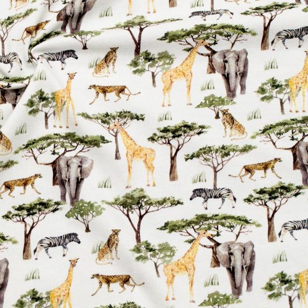Baumwoll Stretch Jersey Afrika Tiere Woll-Weiss