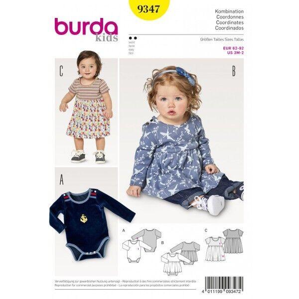 Kleid mit Body –  Body – Schrittverschluss, Gr. 62 - 92, Schnittmuster Burda 9347
