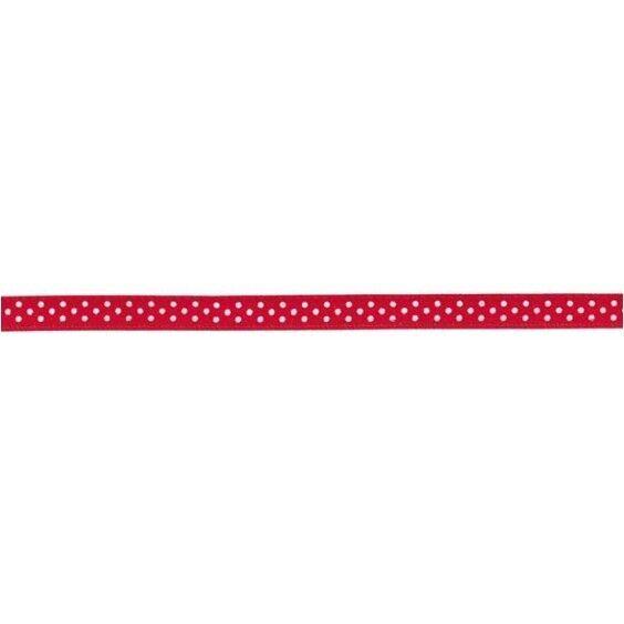 Prym Satinband gepunktet 6mm x 4m (Breite / Länge) rot / weiss