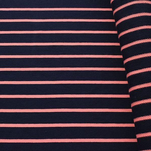Baumwoll Sweatshirt French Terry Querstreifen Duo Dunkel-Blau Lachs