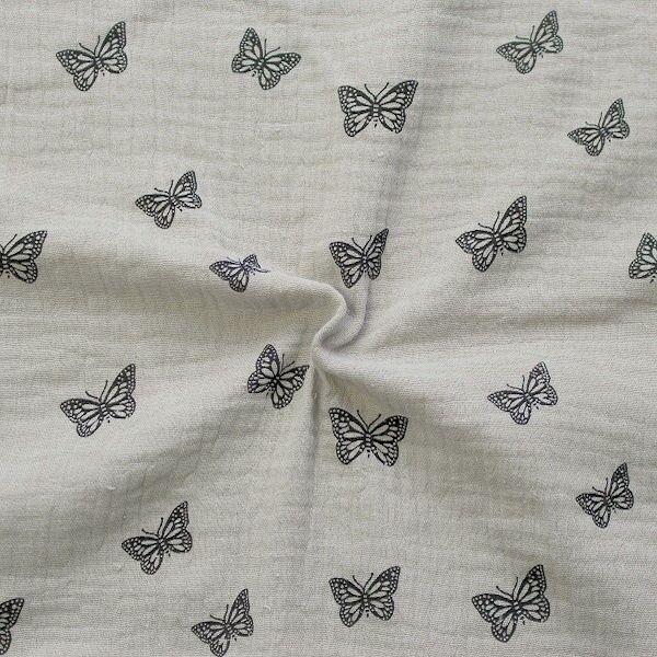 Baumwoll Musselin Double Gauze Schmetterlinge Grau-Beige