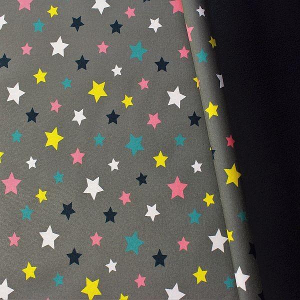Softshell Fleece Stoff Bunter Sterne Mix Grau