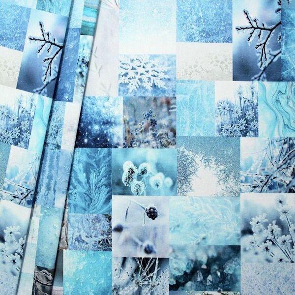 Dekostoff Digital Druck Winter Idylle Blau