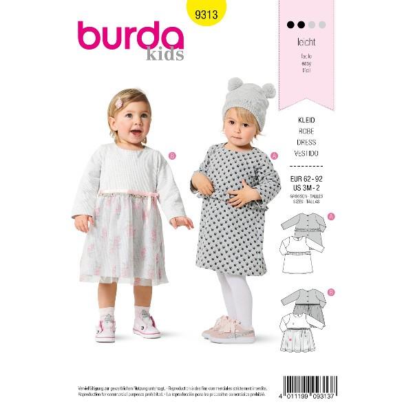 Kleidchen mit  Druckknopfverschluss – Überrock, Gr. 62 - 92, Schnittmuster Burda 9313
