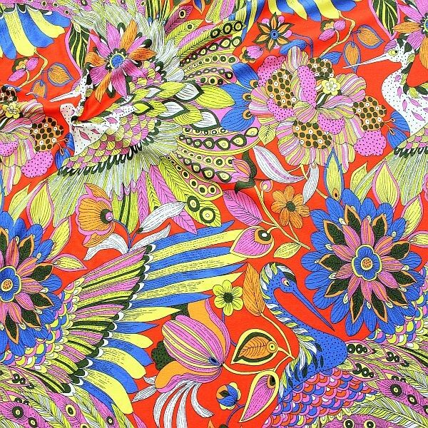 Viskose Stretch Jersey  Hippie Fantasy Rot-Multicolor