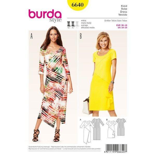 Kleid – Midi-Kleid – diagonale Nahtführung, Gr. 36 - 46, Schnittmuster Burda 6640