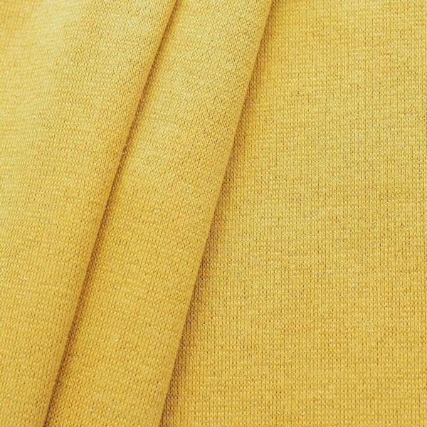 Baumwoll Bündchenstoff glatt Lurex Glitzer Goldgelb Gold