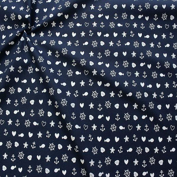 Baumwolle Popeline Maritimer Mix Dunkel-Blau
