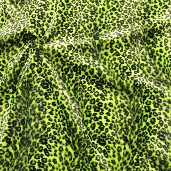 Leopard Tierfellimitat Velboa Gift-Grün