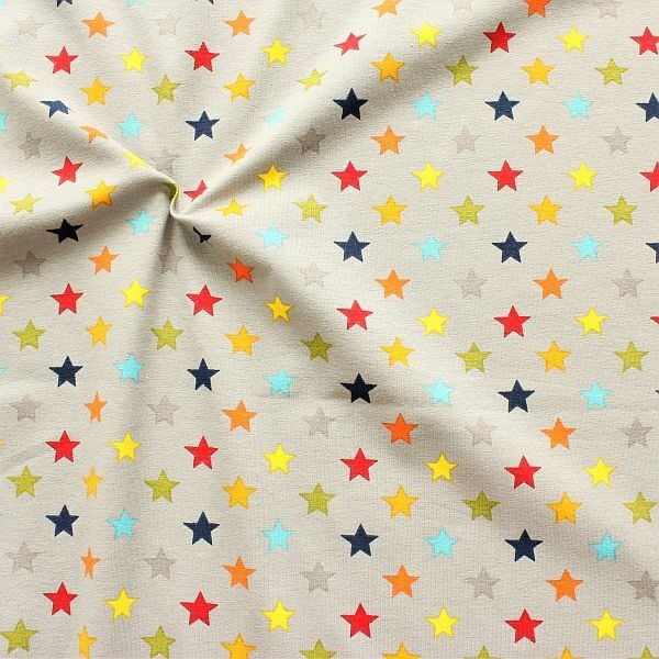Baumwoll Stretch Jersey Bunter Sterne Mix Grau-Multicolor