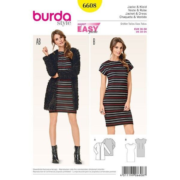 Jacke - verschlusslos - Kleid - angeschnittene Ärmel, Gr. 36 - 50, Schnittmuster Burda 6608