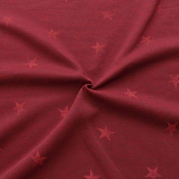 Sweatshirtstoff Sterne Used Look Rot meliert