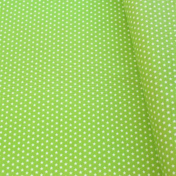 Baumwollstoff Sterne mini Lind-Grün Weiss
