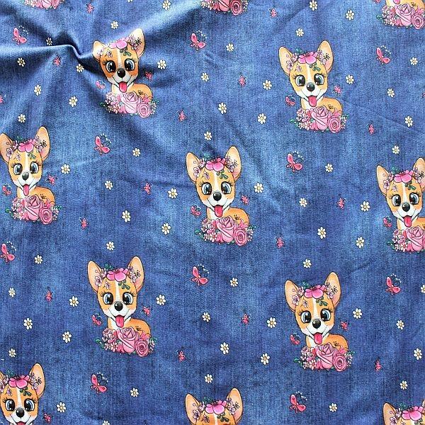 Sweatshirt Baumwollstoff French Terry Gipsy Dog Blau