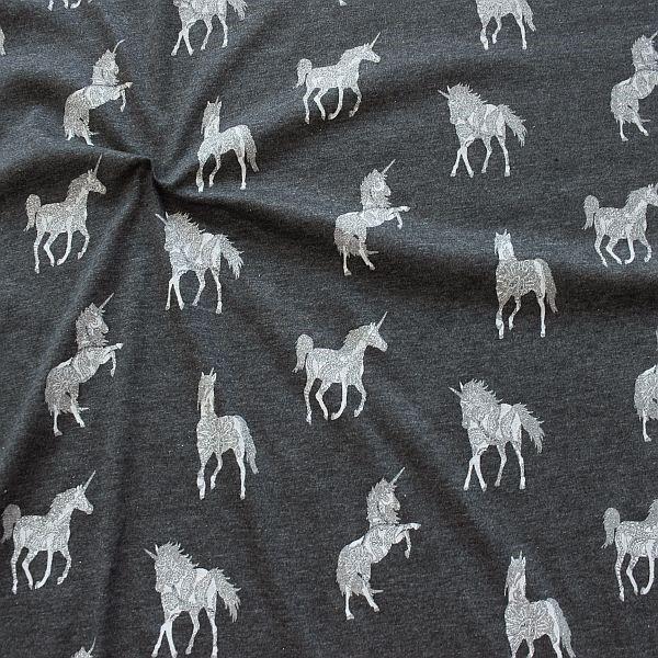 Baumwoll Stretch Jersey Glitzer Einhörner Dunkel-Grau melange