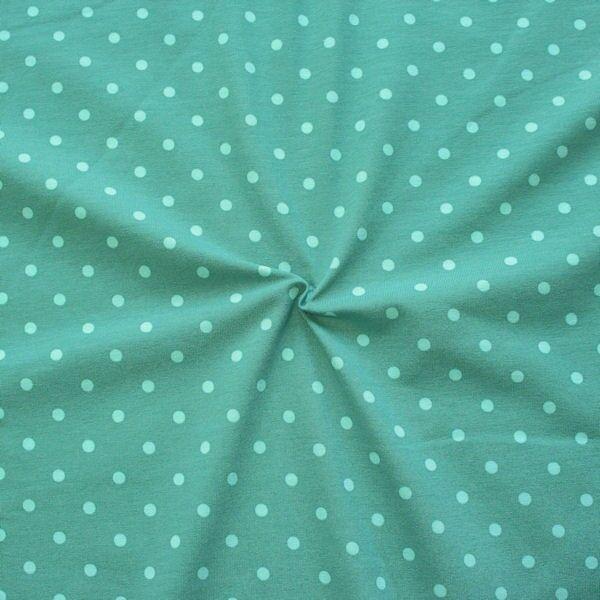 Baumwoll Stretch Jersey Classic Dots Mint Hell-Blau