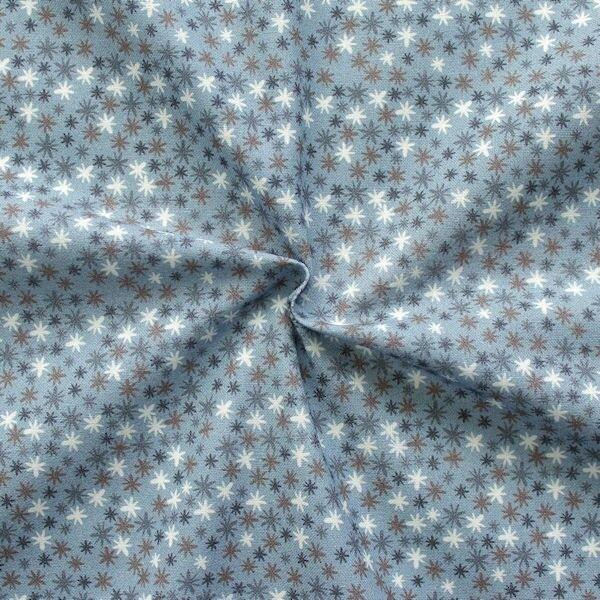 "100% Baumwollstoff ""Twinkle Stars"" Farbe Tauben-Blau"