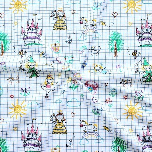 "Baumwoll Stretch Jersey ""Kinder Fantasie"" Multicolor"