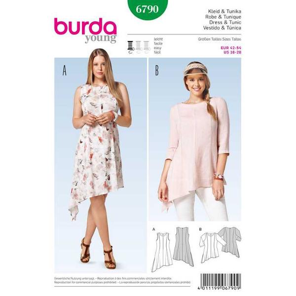 Kleid – Tunika – schräger Saum, Gr. 42 - 54, Schnittmuster Burda 6790