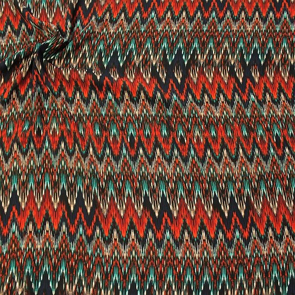 Polyester Crêpe Georgette Ethno Zick Zack Blau-Rost