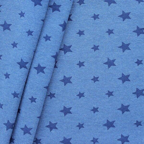 Baumwoll Bündchenstoff Sterne Mix glatt Blau meliert