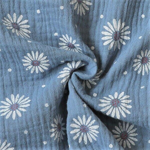 Double Gauze Sonnenblumen Punkte Mix Tauben-Blau