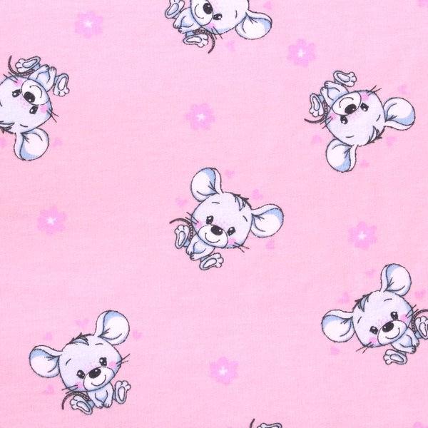 Sweatshirt Baumwollstoff Mäuse Rosa