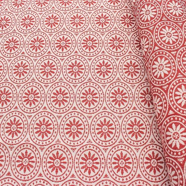 Jacquard Indoorstoff Outdoorstoff Blossom Ring Ecru-Rot