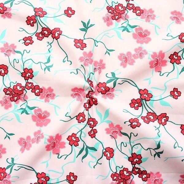 """100% Baumwolle Popeline """"Lotusblumen Ranken"""" Farbe Rosa"""