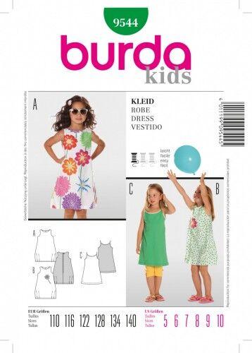 Kleid mit rundem Ausschnitt, Gr. 110 - 140, Schnittmuster Burda 9544