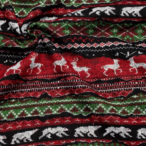 Strick Fleece Hirsche und Eisbären Rot-Grün