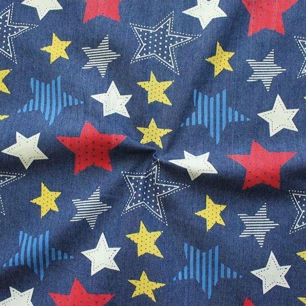 Stretch Denim Jeans Stoff Sterne Mix bunt Dunkel-Blau