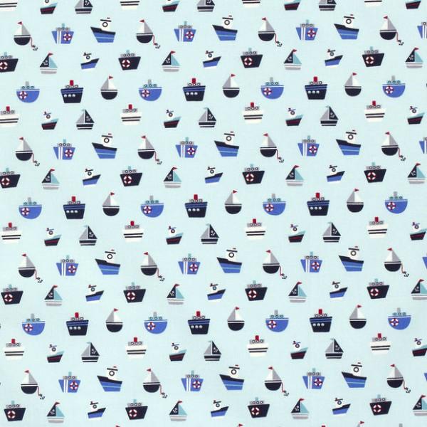 Baumwollstoff Popeline Schiffe Mix Baby-Blau
