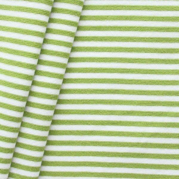 Baumwoll Bündchenstoff Ringel glatt Lind-Grün Weiss