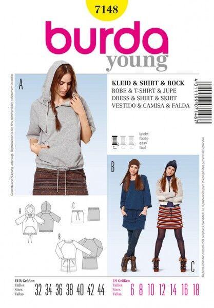 Kapuzenshirt, Sweatshirtkleid, Rock mit Kordeldurchzug, Gr. 32 - 44, Schnittmuster Burda 7148