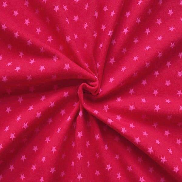 "Baumwoll Stretch Jersey ""Sterne Mittel"" Farbe Rot-Rosa"