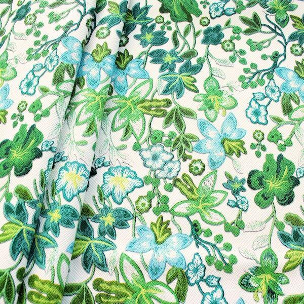 Kunstleder Lederimitat Stickoptik Flower Dream Weiss-Grün
